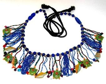 Rare Vintage, tropical fringe belt, Colbalt blue glass beads, painted carved coconut shells, Sterling silver