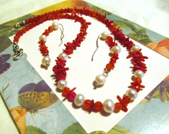 Red and White, jewelry set, 16 inch necklace, half hoop earrings, Coral and Carnelian, freshwater Pearls