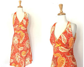 Vintage Paisley Dress - sundress - knee length - fit and flare - boho dress - Medium