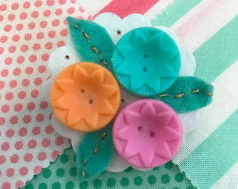 Handmade jewellery-  Vintage Inspired Brooch With Pastel Buttons and Spearmint Leaves With Gold Stitching