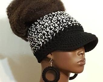 Black and White Top Bun Crochet Baseball Cap with Earrings by Razonda Lee Razondalee