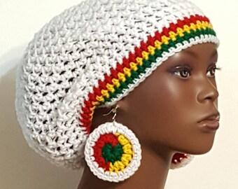 White Rasta Trim Crochet Beret Cap Hat Tam with Earrings by Razonda Lee  RazondaLee