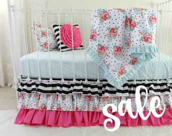 SALE 30% OFF Ready to Ship | Pink, Black, and White Girl Crib Bedding | Stripe and Floral Mix Ruffle Baby Girl Bedding | Bumperless crib set