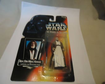 Vintage 1995 Kenner Star Wars The Power Of The Force Ben Obi-Wan Kenobi Action Figure In Sealed Package, collectable