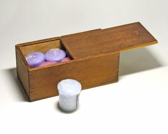 Vintage Small Wood Box with Slide Lid - circa 1900's