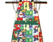 Childs Apron Winter Snow Snowmen  Ages 3 thru 7 Reversible Kitchen Cooking Craft Projects