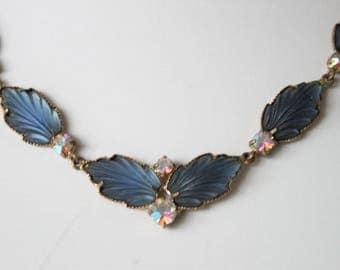 Vintage blue satin glass necklace. Blue glass leaf necklace. Vintage jewellery