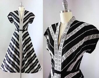 40% OFF SALE - Vintage 1950's Black & White Lace Striped Dress
