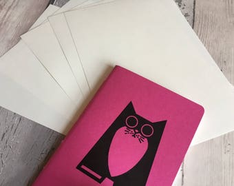 Cat Notebook - small hand-printed, hand-stitched blank journal in pink featuring Maggie the cat