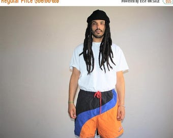 On SALE 35% Off - 1990s Vintage Graphic Colorblock Nautica Hip Hop Rap Rapper Swim Trunks Men's Shorts - 90s VTG Swimming Shorts - 90s Cloth