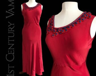 Striking 1930s Red Bias Cut Dress. Crepe Backed Satin with Soutache trim.