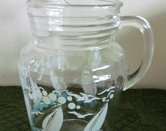 Vintage Mid Century Painted Turquoise & White Sailboats Seagulls Waves Pattern Large Drink Pitcher