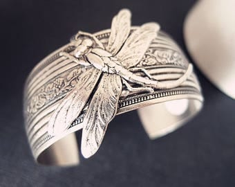 Art nouveau floral dragonfly cuff--- Aged silver brass, highly detailed, ornated, adjustable Victorian bangle/cuff