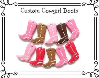 Custom Cold Porcelain Clay Cowgirl Boots - Cowgirl Pendant, Purse Charm, Bow Center, Magnet, Brooch, Cowgirl Ornament, /DIY Cowgirl Necklace