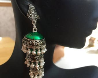 ON SALE South Indian Jhumkas-J549- Green Enameled Jhumkas