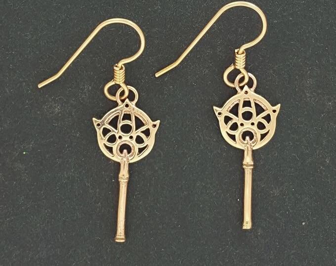 Final Fantasy X Yuna's Wand Earrings in Antique Bronze