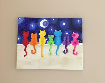 Rainbow Cats on a Wall Art #5, 8x10 inch acrylic canvas painting, colorful whimsical cat art