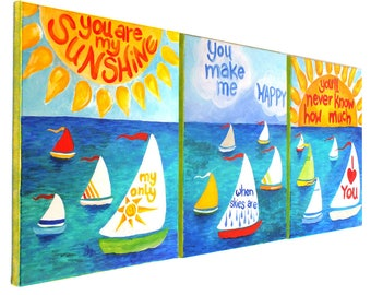 Reserved for Carrie, CUSTOM You Are My Sunshine, Panels 2 and 3 only to complete set of 3