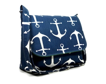 Blue Anchor Messenger Purse for Women, Fabric Pocketbook, Cotton Crossbody Bag, Blue Cross Body Purse, Anchor Handbag, Blue Green White Bag