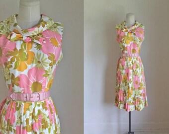vintage 1960s dress - SORBET floral dress / S