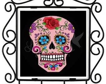 Dia de los Muertos-Sugar Skull - Ceramic Tile Metal Key Holder (SSKHL3) Ready to Ship