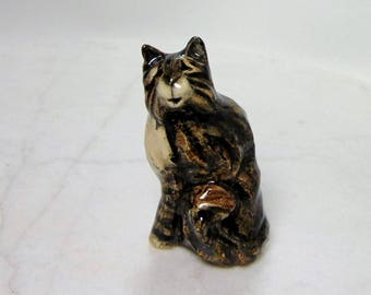 Maine Coon Cat Sculpture - Large Brown Cat - Long Haired - Pottery Animal - Clay Cat - Ceramic Cat - Ceramic Animal