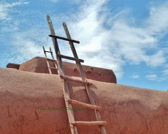 Ladder on Adobe, Southwest Art, 8 x 10 Matted Photograph, Digital Art, Original Photograph