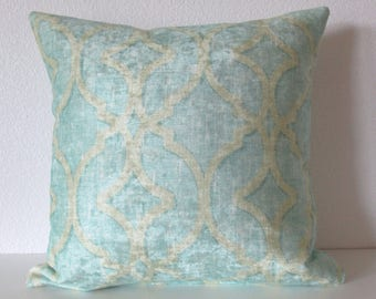 24x24 Nuri Pool lattice aqua blue distressed velvet decorative pillow cover