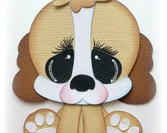 Adorable sitting dog pet animal premade paper piecing 3d die cut by my tear bears kira
