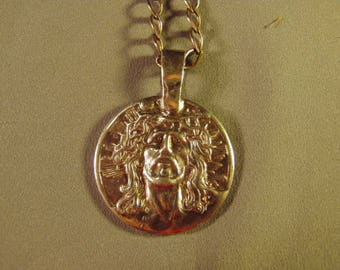 Vintage Creed Sterlng Silver Catholic Jesus Medallion Pendant Necklace Medal Religious Charm 47 Grams 9299
