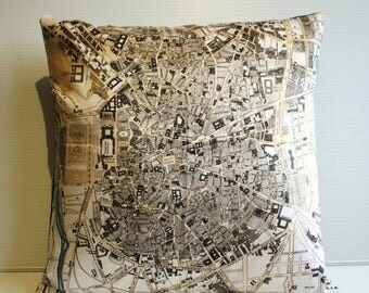 SALE SALE SALE Pillow cover city map Madrid/ vintage city map cushion/ organic cotton / cushion cover/  pillow/ 16 inch cushion/ 40cm cushio