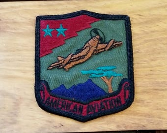 Vintage Patch Military American Aviation Colorful Two Stars w Airplane 60's Mid Century Militaria Collectible