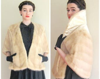 Vintage 1950s Fur Wrap in Blonde Mink / 50s Evans Fur Stole Capelet or Shrug / AS IS