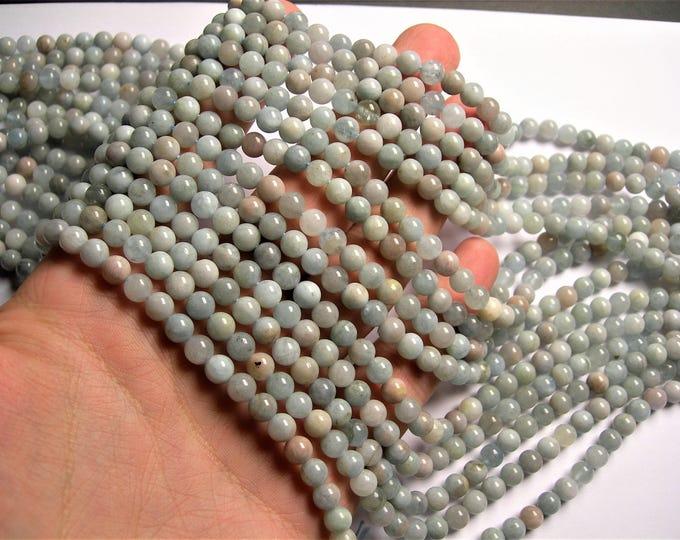 Aquamarine - 6mm round beads - Full strand - 64 beads - RFG1296