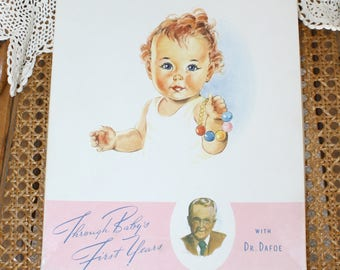 1940s Baby's First Album Book . Vintage 40s UNUSED Through Baby's First Years Baby's Record or Keepsake Book by Dr. Dafoe . In Original Box