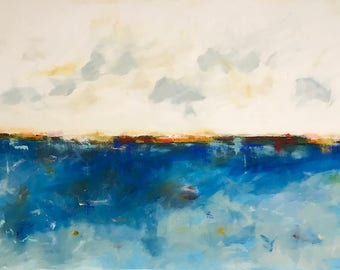 Large Blue Abstract Seascape Original Painting - Bayside Blue 60 x 40