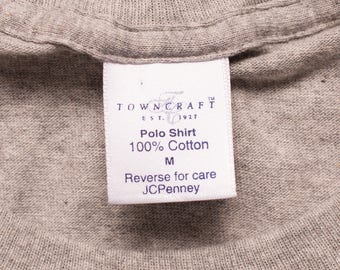 NOS Towncraft Pocket Tee, Polo T-Shirt, JCPenney, Vintage 90s, Light Heather Gray, 100% Cotton, Rockabilly, Skater