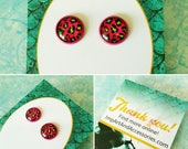 FUSCHIA LEOPARD-12 mm Neon Green and Hot Pink Leopard Magenta Colored Post Earrings