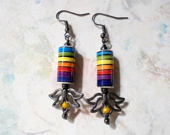 Rainbow Lotus Earrings (3968)