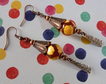 Copper and Yellow Dzi Boho Earrings (4187)