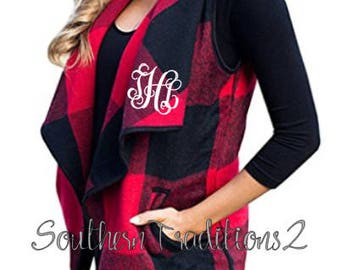 Monogram Buffalo Plaid Women's vest - Ladies Plaid Monogrammed Vest - Monogram Vests for Women - PLEASE SEE SHIPPING times