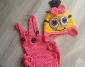 Pink Minion Hat and cover-Minion Diaper Cover Set,girl,newborn,Earflap minion hat, not earflap Minion Hat-baby halloween outfits