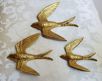 Vintage Metallic Gold Birds Swallows Wall Art Plaques Set of 3 by Burwood Prod. Co. USA 1984