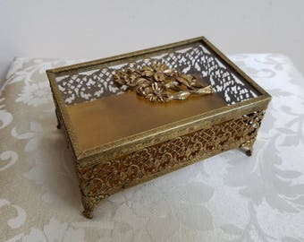 Vintage Gold Filigree Jewelry Box Footed Rectangle With Glass Top & Metal Flowers, Glamorous Ornate Matson Style