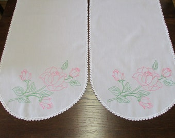 Two Vintage Matching Hand Embroidered Pink Roses Floral Table Runners Dresser Scarfs Buffet