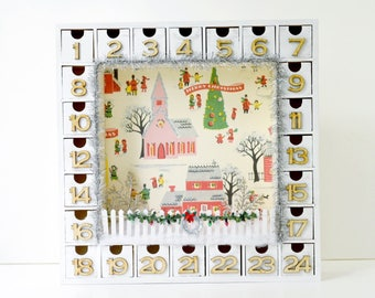 Wooden Christmas Advent Calendar with Numbered Boxes   Christmas Town   Snowy Village