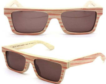 20% off SUMMER SALE KNIGHT bamboo red Handmade  Takemoto  Sunglasses