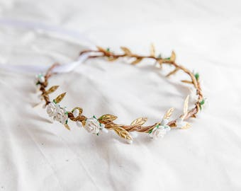 white gold flower hair wreath // bridal wedding flower crown headband / rustic forest spring woodland headpiece / bridesmaids flower crown