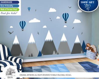 Super Large Mountains Wall Decal with Hot Air Balloons. High quality removable sticker - eagles, pine trees, clouds. Adventure decal d579
