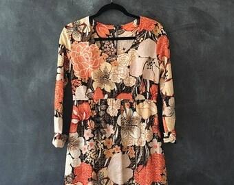 SALE 70s Disco Maxi Dress Gold Lamé Peach Floral Psychedelic Boho Hippie Ladies Size S/M